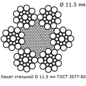 Канат стальной 11.5 мм ГОСТ 3077-80