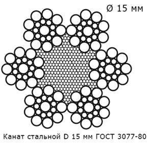 Канат стальной 15 мм ГОСТ 3077-80