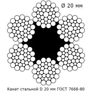 Канат стальной 20 мм ГОСТ 7668-80