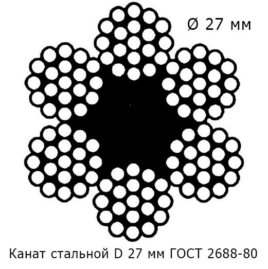Канат стальной 27 мм ГОСТ 2688-80