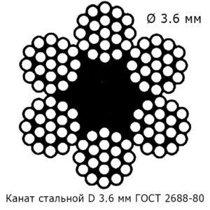 Канат стальной 3.6 мм ГОСТ 2688-80