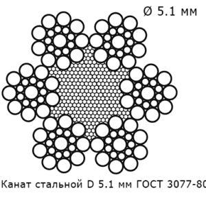 Канат стальной 5.1 мм ГОСТ 3077-80