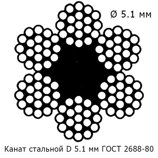Канат стальной 5.1 мм ГОСТ 2688-80