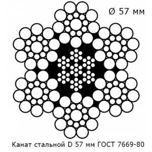 Канат стальной 57 мм ГОСТ 7669-80
