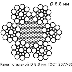 Канат стальной 8.8 мм ГОСТ 3077-80