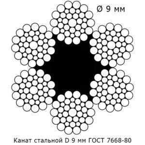 Канат стальной 9 мм ГОСТ 7668-80