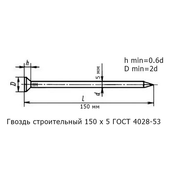 Гвоздь строительный 150 х 5 ГОСТ 4028-53