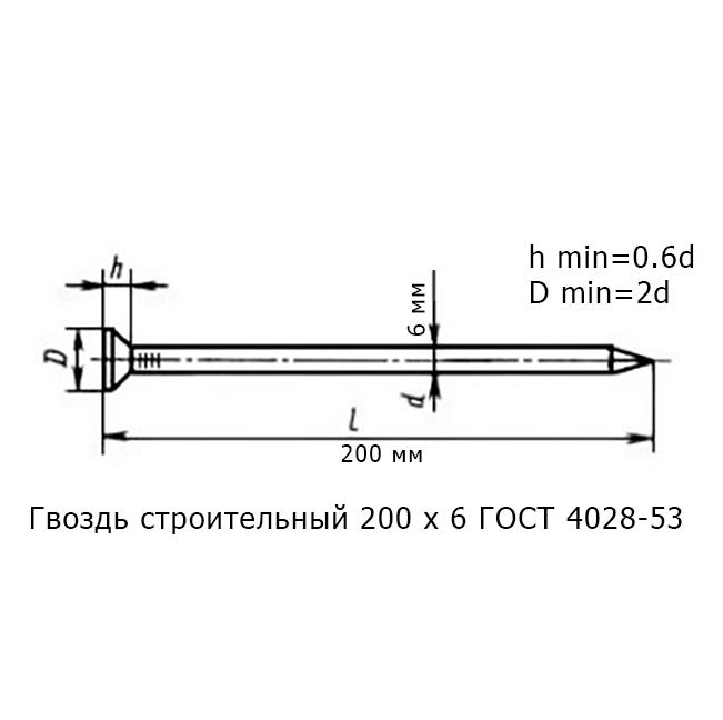 Гвоздь строительный 200 х 6 ГОСТ 4028-53