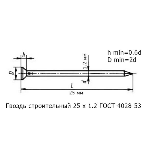 Гвоздь строительный 25 х 1.2 ГОСТ 4028-53