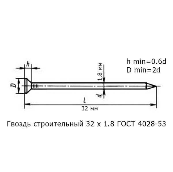 Гвоздь строительный 32 х 1.8 ГОСТ 4028-53