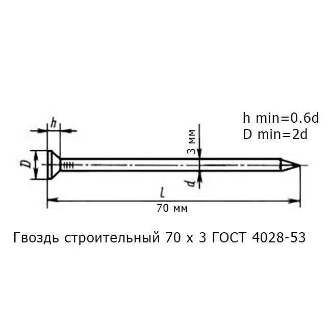 Гвоздь строительный 70 х 3 ГОСТ 4028-53