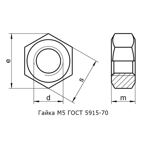 Гайка М5 ГОСТ 5915-70
