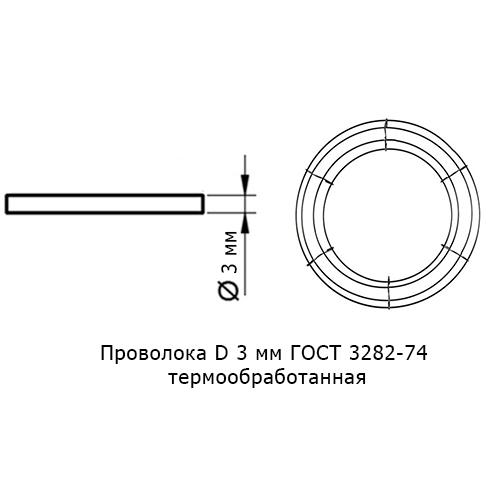 Проволока D 3мм ГОСТ 3282-74 термообработанная